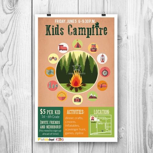 Kids Campfire Poster | Postcard, flyer or print contest