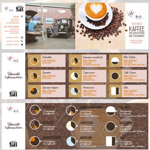Werbeflyer udn Übersicht Kaffeespezisalitäten Diseño de Denise07