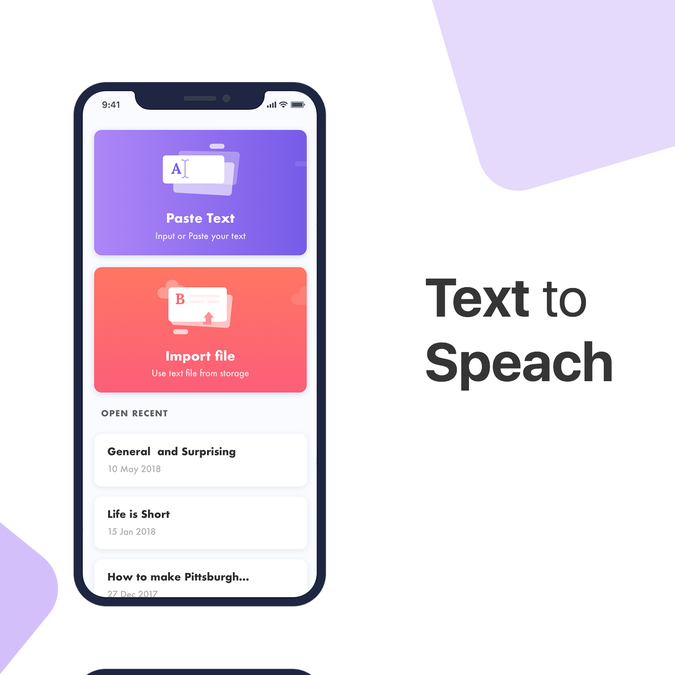 Home Design Ideas App:  Design A Simple And Clean UI For A Text To Speech App