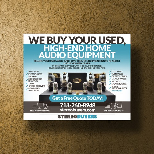 Design Challenge: We buy high-end stereos - can you help us spread the word?! Design by Stanojevic