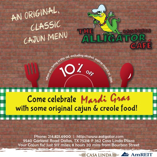 Create a Mardi Gras ad for The Alligator Cafe Design by Lulu's Imagination