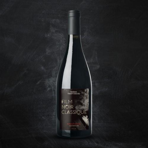 Movie Themed Wine Label - Film Noir Classique Ontwerp door grafosi