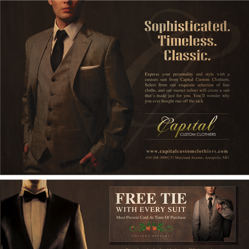Create A Direct Mail Piece Approximately 6 25 X 9 Inches For A Mens Custom Clothier Shop That Feels Elegant Postcard Flyer Or Print Contest 99designs