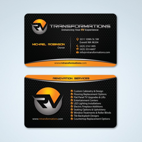 Create an exciting business card design for a new rv renovation entries from this contest colourmoves