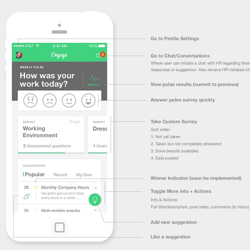 Great UI & UX Design For An Employee Engagement App