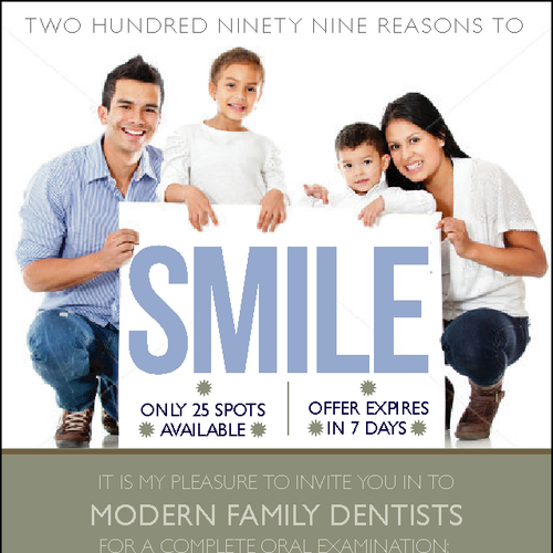 New postcard or flyer wanted for modern family dentists for Modern family printer