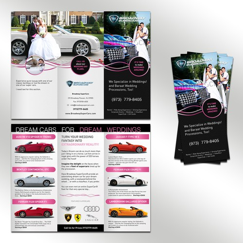 Cutting Edge Leaflet to promote Exotic Cars for Weddings Design by Need it Designed