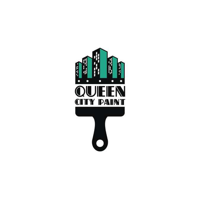 create a city scape paint brush logo for queen city paint