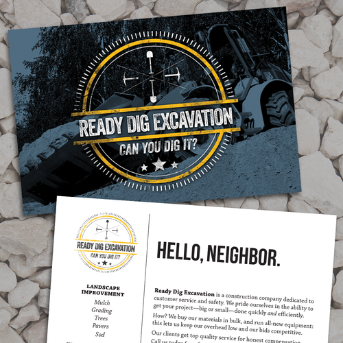 Exciting and rugged landscape postcard for Ready Dig Excavation Design by SWilliamsDesign