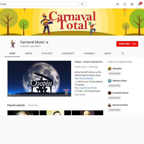 Cover for a Carnaval music youtube video | Social media page