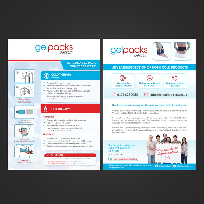 Design a creative flyer for gelpacks direct postcard for Direct from the designers