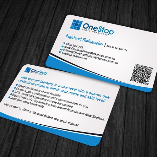 New business card wanted for one stop photo workshops business runner up design by zubairahsan14 reheart Gallery