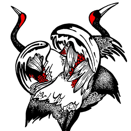 Husband + wife crane tattoo design Design by LazebraArt