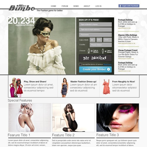 Miss Bimbo com - edgy cool design wanted! | Web page design