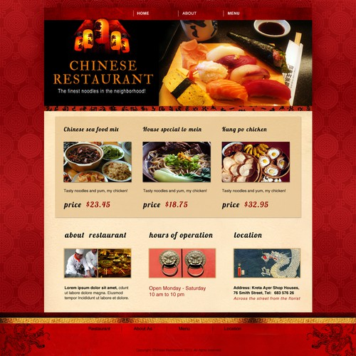chinese restaurant website template