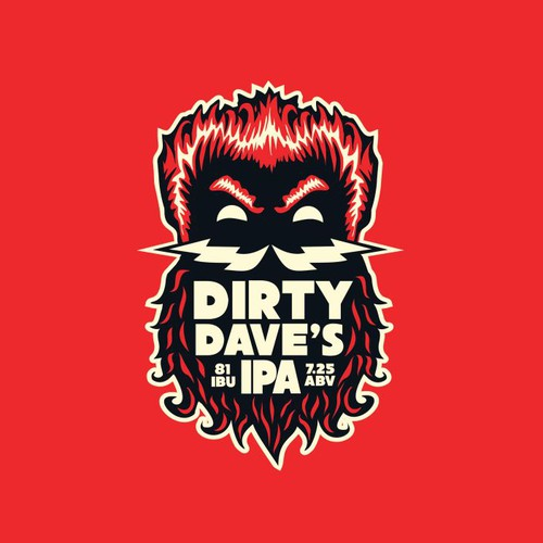 Cool and edgy craft beer logo for Dirty Dave's IPA (made by Bone Hook Brewing Co) Design by Wintrygrey