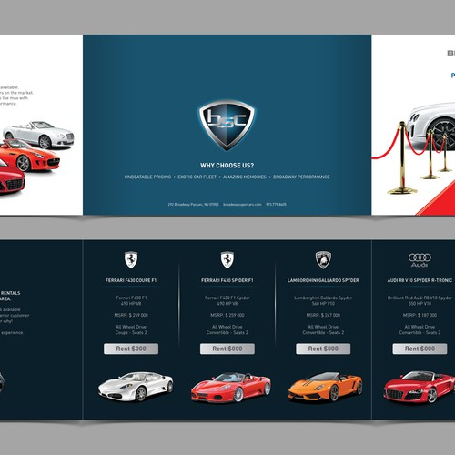 Cutting Edge Leaflet to promote Exotic Cars for Weddings Design by Fayyaz_56