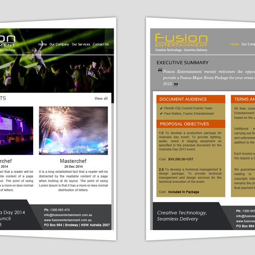 Create A Proposal Template Design For Creative Event Company Other