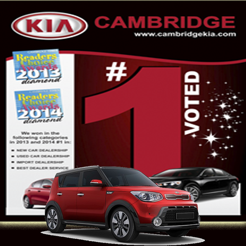 Sign That Shows Cambridge Kia Was Voted 1 In Several