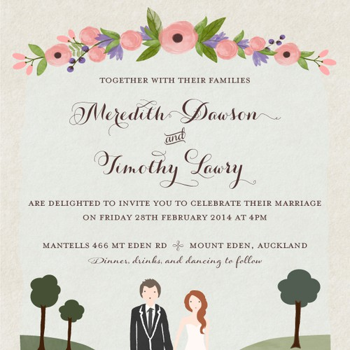 wedding invitation design modern folk naive illustration style