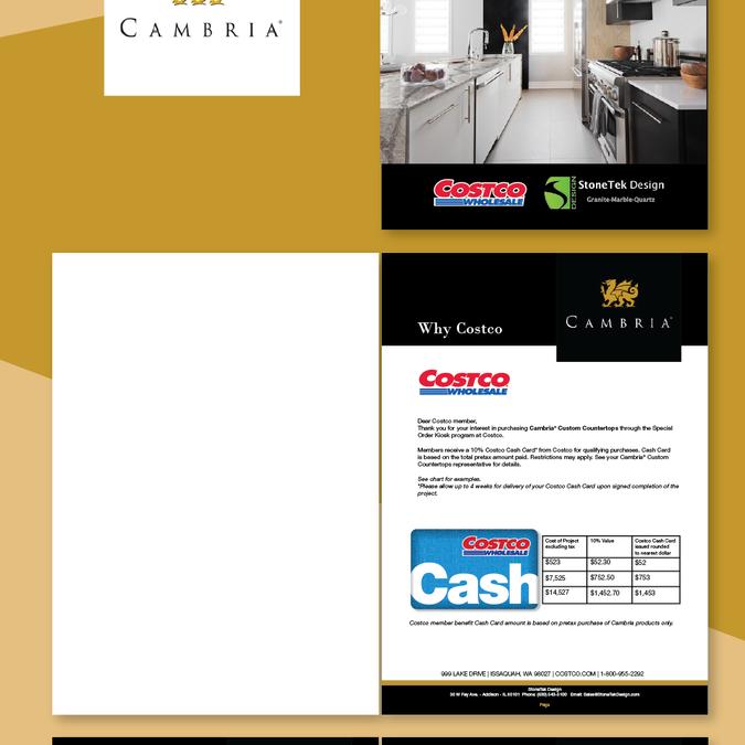 Costco and Cambria Sales Booklet for Countertop Company