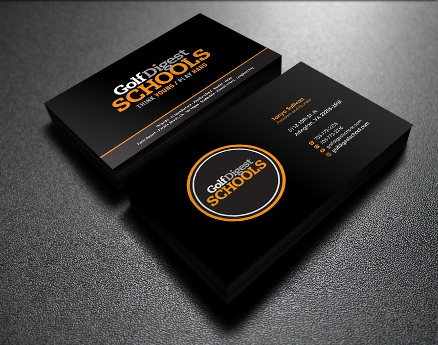 Golf Digest School Business Cards Business Card Contest