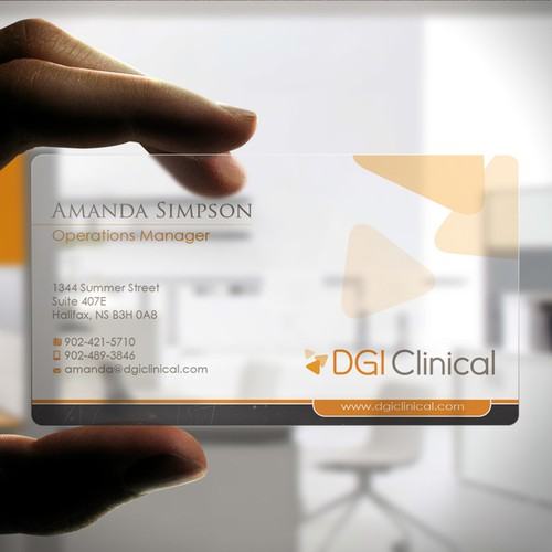 Fresh new business card for a dgi clinical medical tech and data runner up design by zayden colourmoves