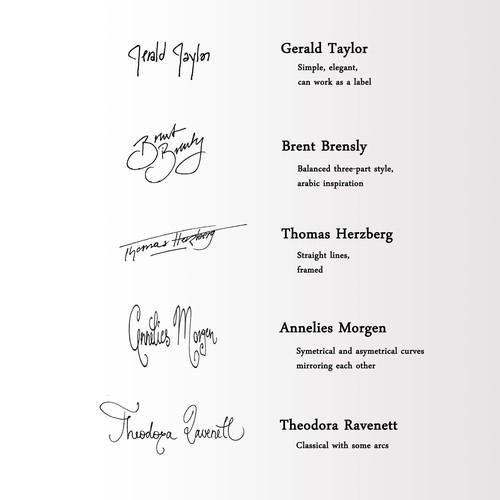Set of 5 Handwritten, Monoline Signatures | Concours
