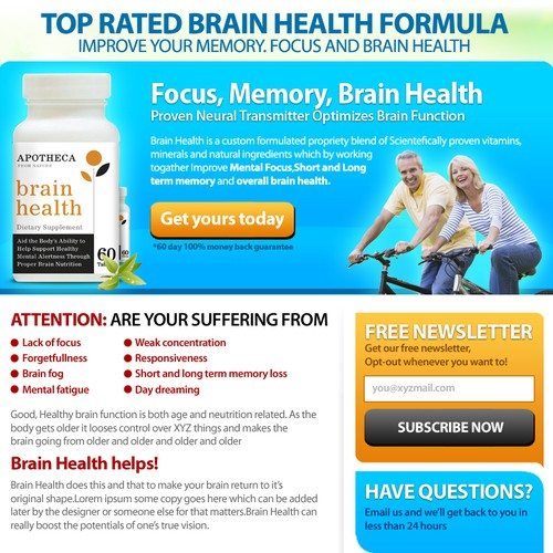 Apotheca Brain Health supplements needs 1 landing/sales page