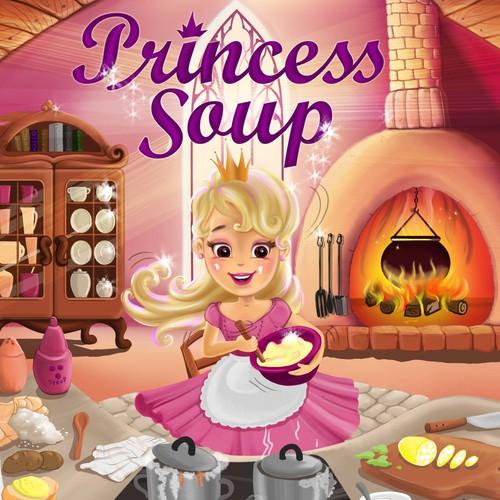 """Princess Soup"" children's book cover design Design by Dinnah"