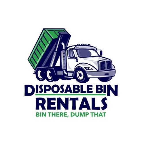 Cartoon Style Truck Logo Design For Roll Off Disposal Bin