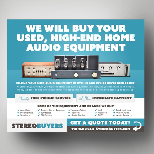 Design Challenge: We buy high-end stereos - can you help us spread the word?! Design by Adwindesign