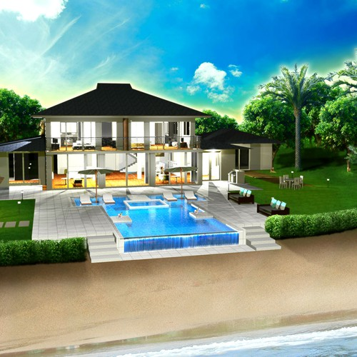 Luxury Vacation Homes: Illustrations Of Modern, Luxury, Oceanfront Vacation Home