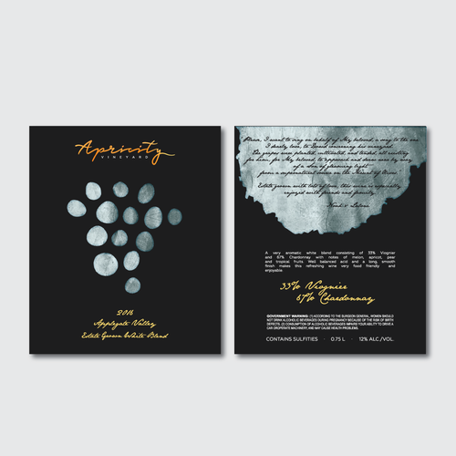 Apricity Vineyard 2016 White Blend Wine Label Design by evey81