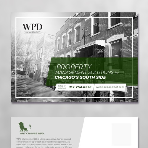 marketing postcard for property management firm in chicago