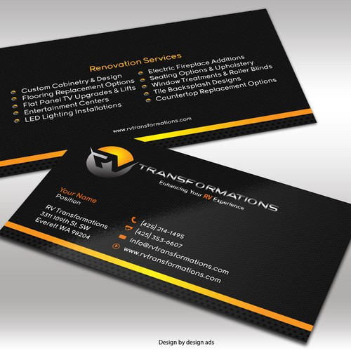 Create an exciting business card design for a new rv renovation runner up design by concepto ni daryl colourmoves