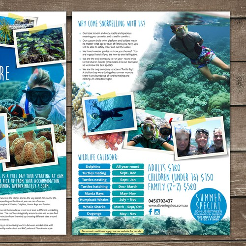 Design an eye catching flyer for snorkel tours on the Ningaloo Reef! Design by Silvia Jordanova