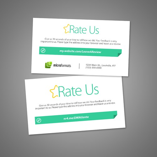 Review me card business card size to request a rating and review runner up design by jimmy mandala reheart Image collections