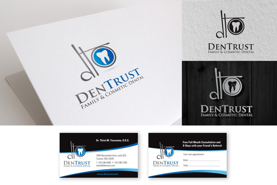 Logo and business card for dentrust logo business card contest winning design by sanadesign reheart Image collections