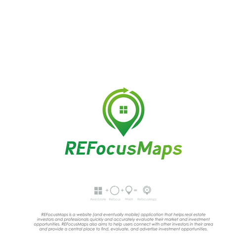 Design a logo for REFocusMaps, a powerful new real estate investment