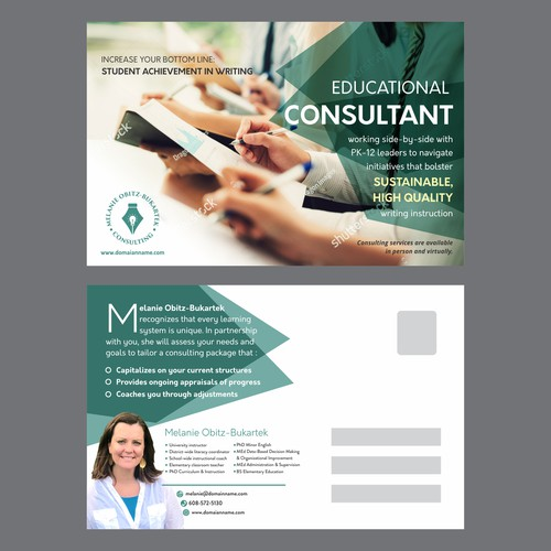 Book Me Solid As An Educational Leadership Consultant With Your Creative Design For A Mailer Postcard Postcard Flyer Or Print Contest 99designs