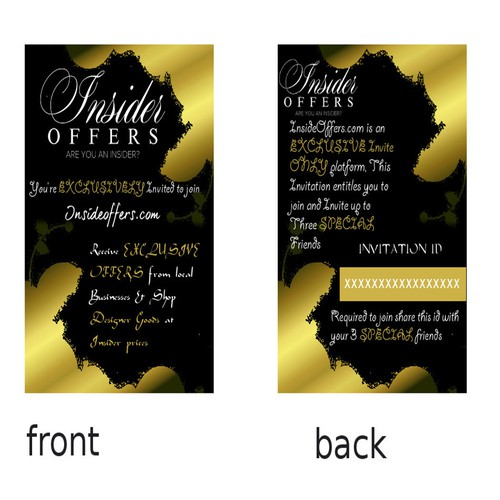 Custom invitation for insider offers card or invitation contest runner up design by karaclare stopboris Images