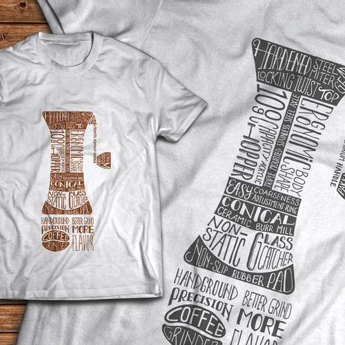 Coffee Collage T-Shirt Design Using Ink Made From Coffee Grounds Diseño de DeeStinct
