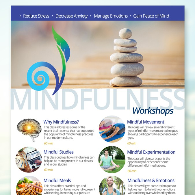 creative flyer to help make mindfulness classes appealing to college