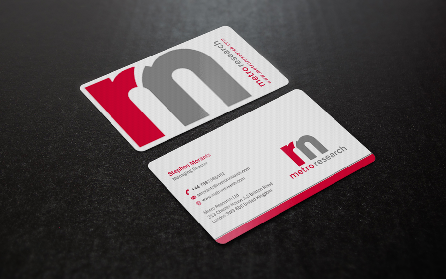 create a business card for a market research agency in the UK ...