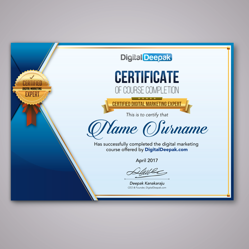 Create A Certificate Design For An Online Course Other Design Contest
