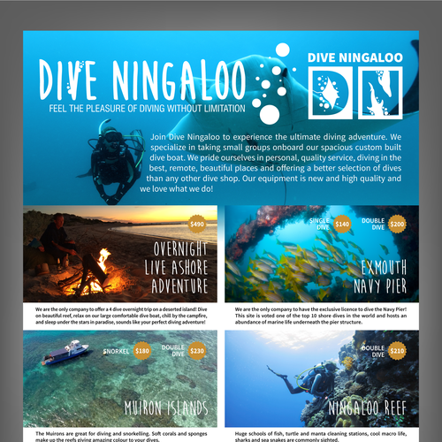 Design an advert for scuba diving on the ningaloo reef postcard flyer or print contest - Ningaloo reef dive ...