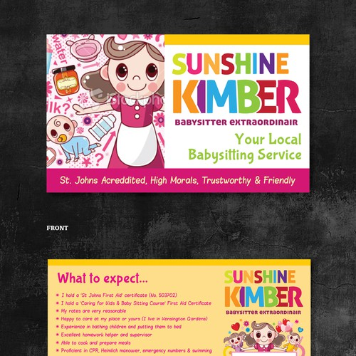 new postcard flyer or print wanted for sunshine kimber babysitter