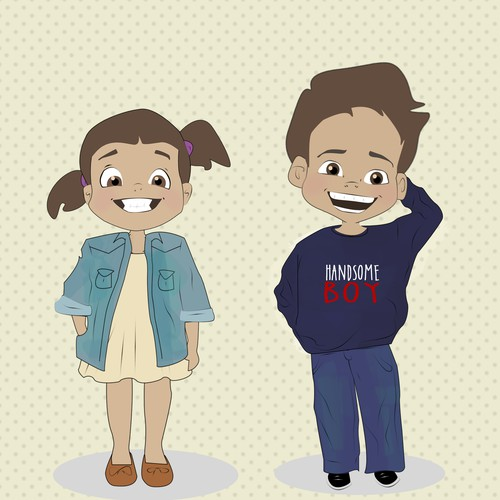 create twin boy and girl cartoon characters character or mascot