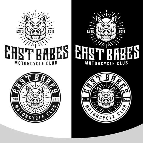 create logo for motorcycle club primary visual is a pig